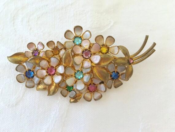 Vintage Czech Brooch Set, Czech Pin with Screw Back Earrings, Rhinestone and Enamel, Czech Glass Jewelry