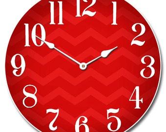 Chevron Red Wall Clock