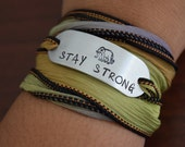 Stay Strong~Elephant~ Hand Stamped Ribbon Wrap Bracelet