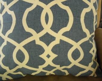 Ocean Blue, Ivory Pillow Cover 20x20