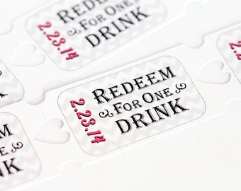 Personalized Drink Tickets, Wedding Drink Tickets, Party Drink Tickets, Bridal Shower Drink Tickets,