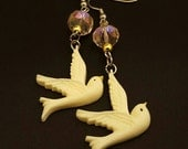 Dangling Dove earrings with gold and pink iridescent beads