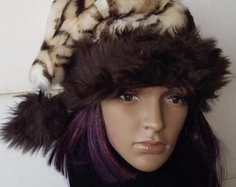 Brown tiger print fur Santa hat with shaggy brown trim