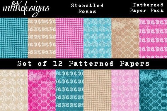 Stenciled Roses Digital Paper Pack