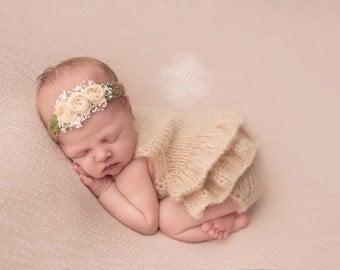 Newborn props - Newborn romper - Baby girl props - Photo props - Newborn girl - Baby photo prop - Newborn baby photo - Beige - Baby girl
