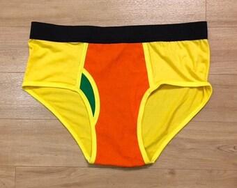 HOT ITEM - 100% Recycled T-Shirt Handmade Men's Brief Underwear PanTees: Bright Yellow & Bright Orange (Sz L)