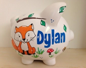 Personalized Hand Painted Piggy Bank With Woodland Animal Theme