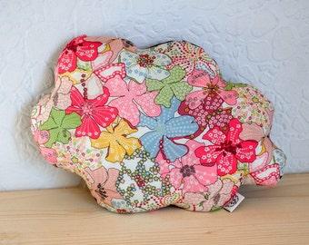 Coussin nuage liberty mauvey rose coton étoiles gris anthracite - décoration chambre bébé enfant salon
