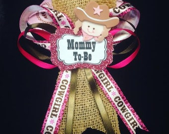 Cowgirl baby shower corsage // Mommy-to-be corsage // Pink and brown baby shower