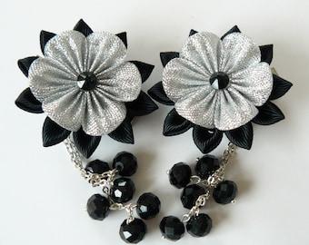 Kanzashi  Fabric Flowers. Set of 2 hair clips. Black and silver. Gothic Hair Clip Black silver flower hair clips
