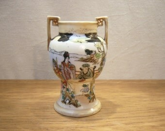 Vintage 1920s Noritake hand painted posy vase with a woman and old man in a landscape