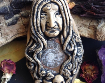 Baba Yaga Pendant- Russian Folklore - Witch Jewelry - Hand Sculpted Arch Crone Goddess - Goddess Jewelry - Hag Goddess - Clay Face Pendant