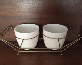 Vintage Mid Century Modern Serving Bowls Chip Dip Ice Bucket Flower Pots White Milk Glass Brass Metal Cradle Carrier MCM Atomic Eames Era