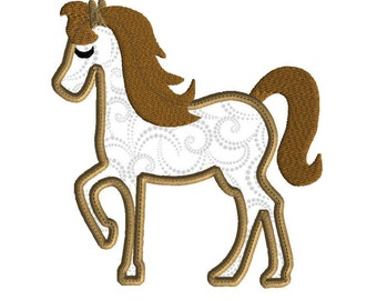 Horse embroidery design, 3 size applique for machine embroidery, applique pony