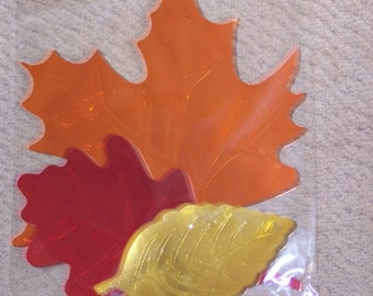 Foil fall cut outs,ass't fall leaves,maple,oak,elm,paper craft,fall,autumn