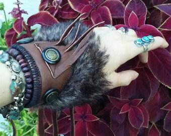 Handmade Brown Leather Faux Fur Cuff Fringe Button Accent Cosplay Renaissance Wrist Battle Armor Elvin Fantasy Woodland Warrior Cuff