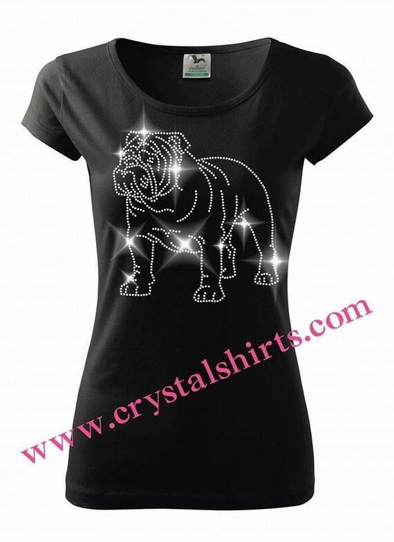 English bulldog rhinestone bling t shirt T shirts for english bulldogs