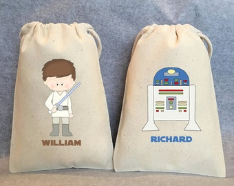 "22- Star Wars Party, Star Wars party Favor Bags,Star Wars favors, Yoda, Leia, Vader, Chewbacca, Hans Solo, R2D2,  5""x8"""