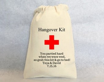 "Hangover Kit, Personalized wedding favors- wedding favor bags, Cotton Drawstring Bags - wedding favors 4""x6"", set of 40"
