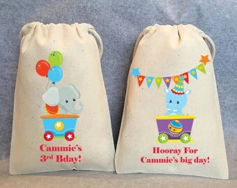 """12- Circus Birthday, Circus animal party, Circus party favor, Circus Birthday, under the big top, bags 5"""" by 8"""""""