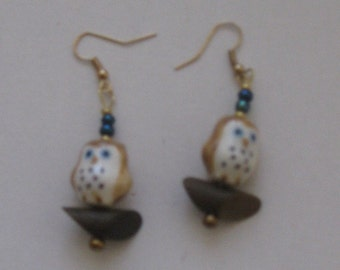Glass Owl Bead Earrings