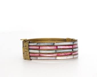 Sale / Clearance / Vintage Boho Clamper Bracelet / Bangle with Shell and Brass / Vintage Clamper Bracelet / Vintage Shell Cuff