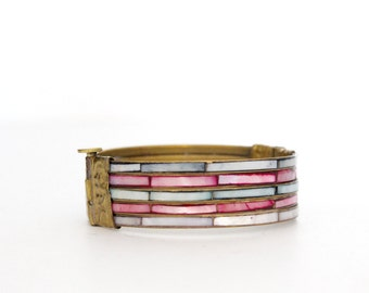 Vintage Boho Clamper Bracelet / Bangle with Shell and Brass
