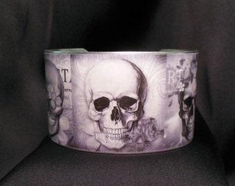 Dias de los Muertos Sugar Skulls Skulls and Roses 1  1/2 Inch Silver Over Brass Cuff Bracelet