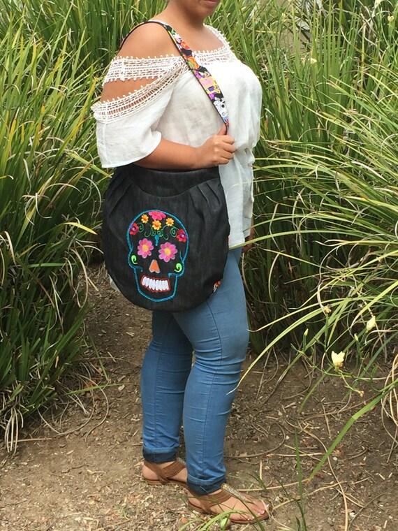 Multi Color Embroidered sugar skull bag