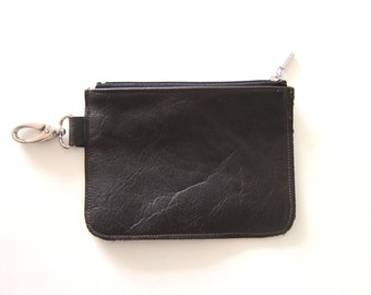 SALE - Dark brown leather pouch, leather clutch, travel clutch