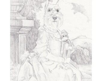 Schnauzer Pencil Study, Original Artwork, Dog Portrait, Dogs in Clothes