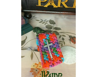 Rainbow crocheted rhinestone cross cuff