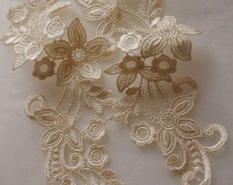 beige lace applique by pairs, venice lace applique, bridal lace applique