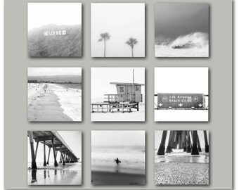 Black and White California Photography Print Set Los Angeles Hollywood Retro Hermosa Beach Gallery Wall Vintage Style Surf Ocean LA Coastal