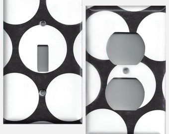 Black with Large White Polka Dots Light Switchplates and Wall Outlet Covers Home Decor Accents Retro