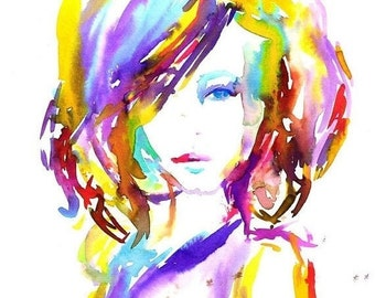 "ON SALE Original Watercolor Painting, Titled ""Stay Bright"" by Jessica Buhman 11 x 14, Portrait of Woman, Painting of Woman, Colorful Art, Wa"