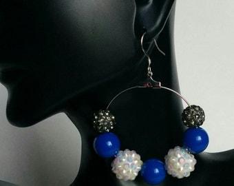Blue Bead Earrings Trendy Hollywood Blue Hoops Dangling Beaded Jewelry Love and Hip Hop Basketball wives  .925 sterling silver Hoops