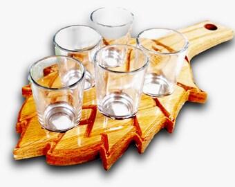 Hop Leaf Beer Flight Tasting Tray with 6 Tasting Glasses