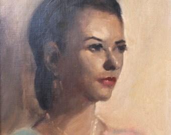 Leon Franks Original Vintage Modern Figurative Portrait California Impressionist American Oil Painting 1959