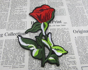 Red Tulip Embroidered Flower Applique Iron On Patch