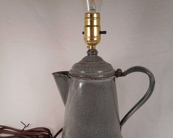 Handmade vintage coffee pot lamp / home decor / table lamp
