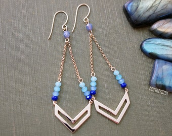Chevron Blue Ombre Earrings, Blue Ombre Crystalized Rondelles, Gypsy Moonchild Gift For Her, Earrings