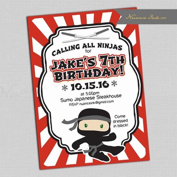 Ninja Birthday Party Invitations, karate birthday party, printed or digital, 24 hr turnaround, ninja warrior