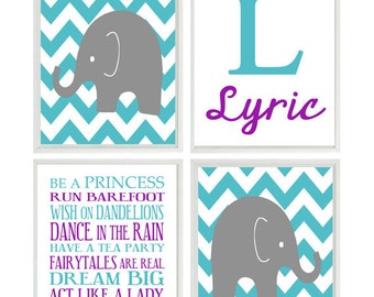Baby Girl Nursery Art, Elephant Wall Art, Personalized Art, Girl Rules Print, Teal, Purple, Gray, Chevron Nursery, Elephant Prints, Name
