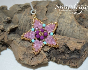 Starlight star beaded pendant with sterling silver bail and chain