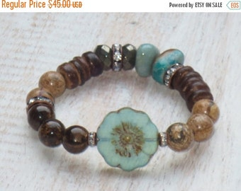 ON SALE Boho Chic Organic Mix Gemstone Beads with Czech Flower Stackable Layering Stretch Bracelet