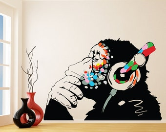 Banksy Vinyl Wall Decal Monkey With Headphones / Colorful Chimp Listening  To Music Earphones / Street Part 38