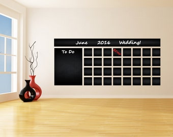 Blackboard Vinyl Wall Decal Calendar with To Do List / Chalkboard Erasable Office Mural / Month Planner Sticker Drawing + Free Crayons Box