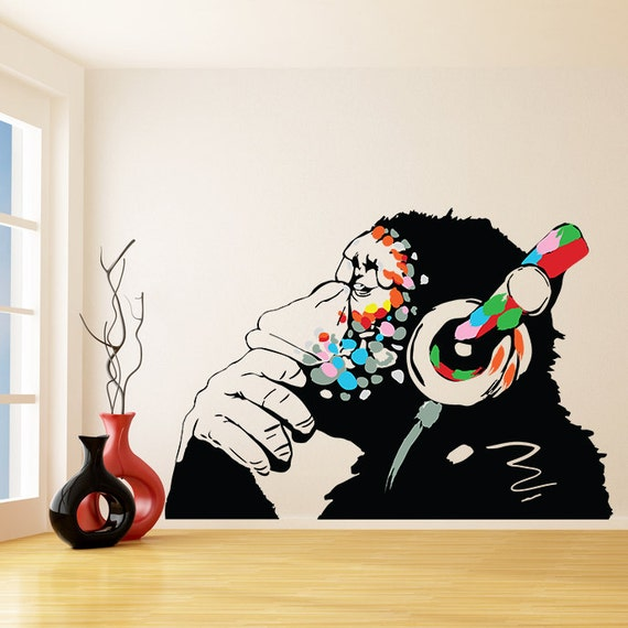 banksy vinyl wall decal monkey with headphones colorful. Black Bedroom Furniture Sets. Home Design Ideas