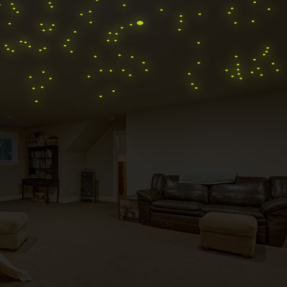 Glowing vinyl ceiling decal star map glow in the dark for Constellation ceiling mural